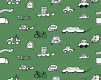 Hand-drawn doodle-style cars seamless pattern Stock Image
