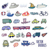 Hand-drawn doodle-style cars, ships and bicycle Royalty Free Stock Photo