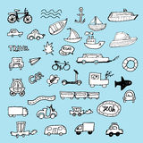 Hand-drawn doodle-style cars, ships and bicycle Royalty Free Stock Photos