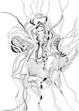 Hand drawn and doodle style girl dancing belly dance. Stock Photography