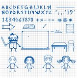 Hand-drawn doodle style school theme characters and objects Stock Photos