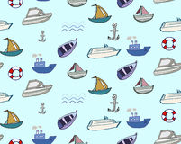 Hand-drawn doodle-style ships and boats seamless Royalty Free Stock Photography