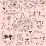Hand Drawn Doodle Style Wedding Vector Set with Dress, Tuxedo Royalty Free Stock Photos