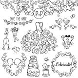 Hand Drawn Doodle Style Wedding Vector Set with Dress, Tuxedo Stock Photography