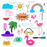 Hand Drawn Doodle Summer Vector Set. Doodle Funny Set. Handmade Vector Illustration Royalty Free Stock Image