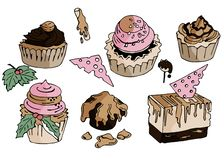 Hand drawn doodle sweets and cakes. Vector illustration. stock illustration