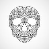 Hand drawn doodle swirled skull Stock Photos