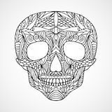 Hand drawn doodle swirled skull Royalty Free Stock Photo