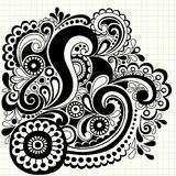 Hand-Drawn Doodle Swirls Vector. Hand-drawn Notebook Doodle Abstract Swirls on Graph (Grid) Paper Background- Vector Illustration Stock Image