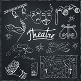 Hand drawn doodle Theater set Stock Photo