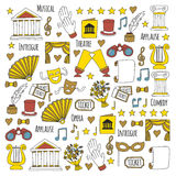 Hand drawn doodle Theatre set Vector illustration Sketchy theater icons Theatre acting performance elements Ticket Masks Royalty Free Stock Photography