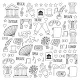 Hand drawn doodle Theatre set Vector illustration Sketchy theater icons Theatre acting performance elements Ticket Masks Stock Photography
