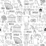 Hand drawn doodle Theatre set Vector illustration Sketchy theater icons Theatre acting performance elements Ticket Masks Royalty Free Stock Image