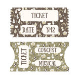 Hand drawn doodle tickets. With floral design in vintage style. Tickets for cinema, concert, museum, exhibition Royalty Free Stock Photo
