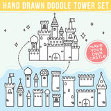 Hand drawn doodle tower set Stock Photos