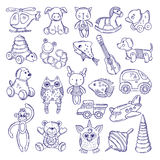 Hand drawn doodle toys for kids. Vector sketches isolate on white background. Toy kids pyramid fish and monkey, illustration of dog and cat toys Stock Photo