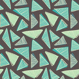 Hand drawn doodle triangles seamless retro pattern background light dark Stock Photo