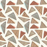 Hand drawn doodle triangles seamless retro pattern background light Stock Photography
