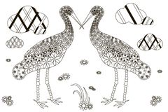 Hand drawn doodle two storks, black and white anti. Stress vector illustration Stock Image