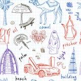 Hand drawn doodle UAE travel seamless pattern Stock Photo
