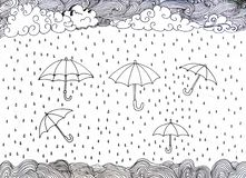HAND DRAWN DOODLE. UMBRELLA AND RAIN royalty free illustration