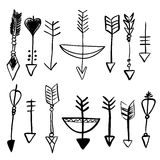 Hand drawn doodle vector arrows set royalty free illustration