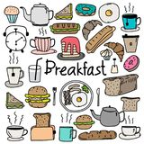 Hand Drawn Doodle Vector Breakfast Set. Vector Illustration Royalty Free Stock Image