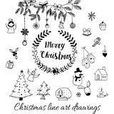 Hand drawn doodle vector. Christmas line art drawings in black. tree, santa and lettering, fir branches, ornaments. Candy, present boxes for gift tags, labels Royalty Free Stock Photos