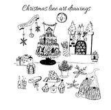 Hand drawn doodle vector. Christmas line art drawings in black. tree, santa and lettering, fir branches, ornaments. Candy, present boxes for gift tags, labels Royalty Free Stock Image