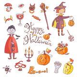 Hand drawn doodle vector collection of halloween elements: suits Royalty Free Stock Photos