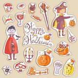 Hand drawn doodle vector collection of halloween elements: suits Royalty Free Stock Images
