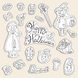 Hand drawn doodle vector collection of halloween elements: suits Stock Images