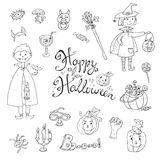Hand drawn doodle vector collection of halloween elements: suits Stock Photography