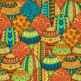 Hand-drawn doodle vector Easter seamless pattern. Stock Images