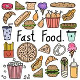 Hand Drawn Doodle Vector Fast Food Set. vector illustration