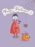 Hand drawn doodle vector halloween greeting card with the vampir Stock Photos