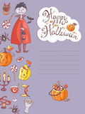 Hand drawn doodle vector halloween greeting card with the vampir Royalty Free Stock Image
