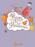 Hand drawn doodle vector halloween greeting card with the vampir Royalty Free Stock Photo