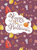 Hand drawn doodle vector halloween greeting card with the vampir Stock Image