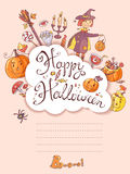 Hand drawn doodle vector halloween greeting card with the witch, Royalty Free Stock Photos