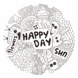 Hand-drawn doodle. Vector illustration. Happy day of little characters. Emotions. Flowers. Stock Photography