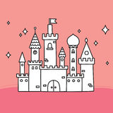 Hand drawn doodle vector large castle Royalty Free Stock Photo