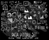 Hand drawn doodle vector line data element icon set on Chalkboar. D Royalty Free Stock Photo