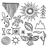 Hand drawn doodle vector native american symbols set Stock Photography
