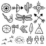 Hand drawn doodle vector native american symbols set stock illustration