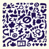Hand drawn doodle vector objects Royalty Free Stock Photo