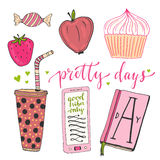 Hand drawn doodle vector set for teen girls. Colorful vector collection of breakfast food and things Royalty Free Stock Image