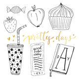 Hand drawn doodle vector set for teen girls.  vector collection of breakfast food and things Stock Image