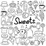 Hand Drawn Doodle Vector Sweets Set. Royalty Free Stock Images