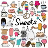 Hand Drawn Doodle Vector Sweets Set. Royalty Free Stock Photography
